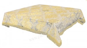 Пелена на престол/жертвенник из парчи ПГ3 (белый/золото)