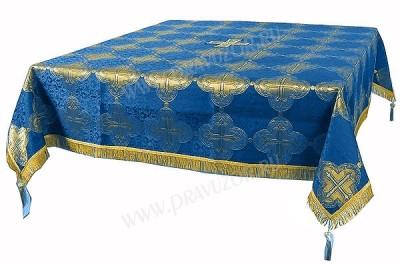 Пелена на престол/жертвенник из парчи ПГ4 (синий/золото)