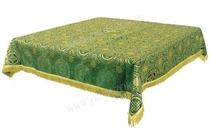 Пелена на престол/жертвенник из шёлка Ш3 (зелёный/золото)