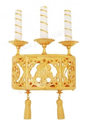 Церковное бра с серафимом (3 свечи)