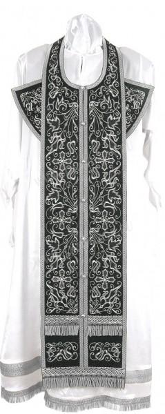 """Вышитый требный комплект """"Хризантема"""" (чёрный/серебро)"""