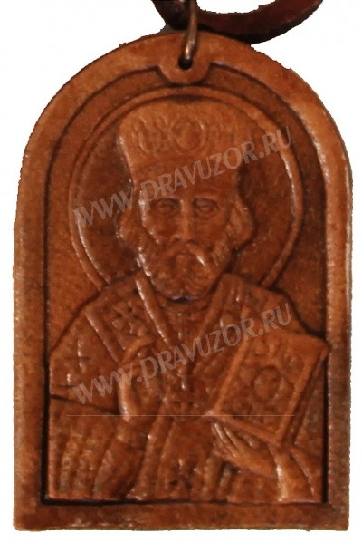 Медальон кожаный образ святитель Николай
