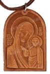 Медальон кожаный образ Казанской Богоматери