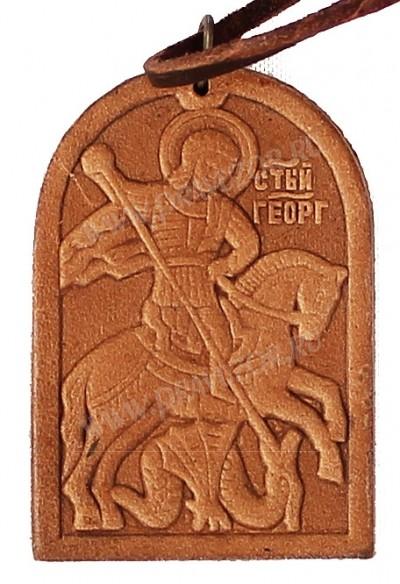 Медальон кожаный образ св. Великомученика Георгия Победоносца