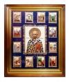 Икона настенная  - святитель Николай Чудотворец с житием.