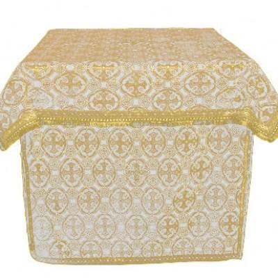 Облачение на жертвенник из парчи ПГ1 (белый/золото)