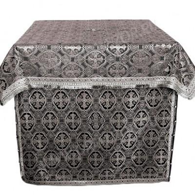Облачение на жертвенник из шёлка Ш2 (чёрный/серебро)