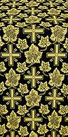 """Парча """"Ажурный крест"""" (чёрная/золото)"""