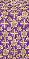 """Парча """"Ажурный крест"""" (фиолетовая/золото)"""