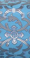 """Парча """"Кованый крест"""" (синяя/серебро с синим)"""