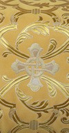 """Парча """"Кованый крест"""" (жёлтая/золото с серебром)"""