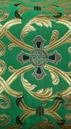 """Парча """"Кованый крест"""" (зелёная/золото)"""
