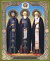 Икона: Свв. преподобные Нил Сорский, Сергий Радонежский и Серафим Саровский
