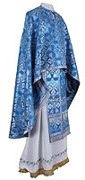 Греческое иерейское облачение из шёлка Ш2 (синий/серебро)