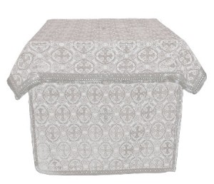 Облачение на престол из шёлка Ш3 (белый/серебро)