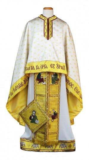 """Греческое облачение священника - """"Спас на троне"""" - (белое"""