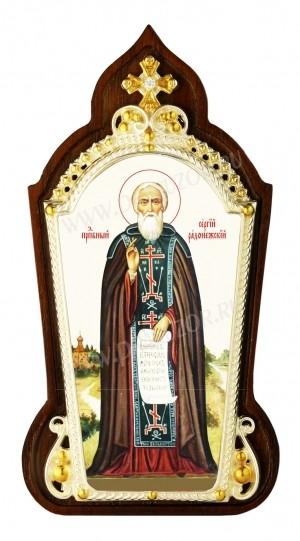 Икона настольная  в серебре - святой преподобный Сергий Радонежский чудотворец.